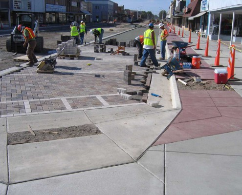 Fort Morgan - Permeable pavers -- white pavers used for stripes